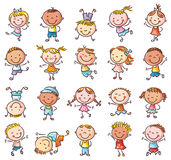 Venti bambini felici imprecisi che saltano con la gioia illustrazione di stock