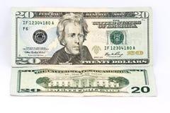 Venti dollari di banconota Fotografia Stock