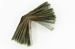 Venti dollari di fatture americani su un fondo bianco Fotografia Stock