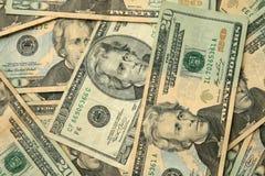 Venti fatture degli Stati Uniti del dollaro Fotografie Stock