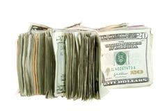 Venti fatture del dollaro impilate insieme e legate Immagine Stock Libera da Diritti