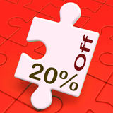Venti per cento fuori dal puzzle significano la riduzione o la vendita 20% Fotografie Stock