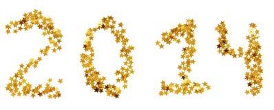Venti-quattordicesimo nuovo anno di stelle d'oro Immagini Stock Libere da Diritti