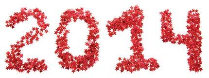 Venti-quattordicesimo nuovo anno di stelle rosse Fotografia Stock