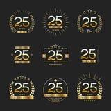 Venticinque anni di anniversario di logotype di celebrazione venticinquesima raccolta di logo di anniversario illustrazione vettoriale