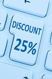 25% venticinque per cento di sconto del bottone del buono dello shopp online di vendita Fotografie Stock Libere da Diritti
