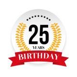 Venticinquesima etichetta del distintivo di compleanno Immagini Stock Libere da Diritti