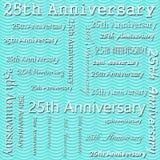 venticinquesima progettazione di anniversario con Teal Wavy Stripes Tile Pattern Repe Immagine Stock