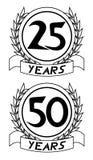 venticinquesime e cinquantesimo icone di anniversario Immagini Stock