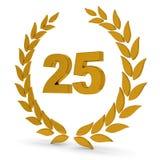 venticinquesimi Corona dorata dell'alloro di anniversario Fotografie Stock