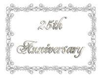 venticinquesimi Illustrazione dell'invito 3D di anniversario Immagine Stock