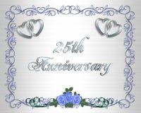 venticinquesimi Invito del bordo di anniversario di cerimonia nuziale Immagini Stock Libere da Diritti