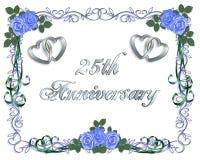 venticinquesimi Invito del bordo di anniversario di cerimonia nuziale Fotografie Stock Libere da Diritti