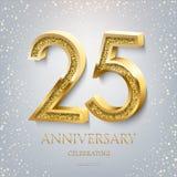 venticinquesimo anniversario che celebra testo ed i coriandoli dorati su fondo blu-chiaro Evento di anniversario di celebrazione  illustrazione di stock