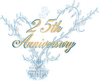 venticinquesimo anniversario di cerimonia nuziale illustrazione vettoriale