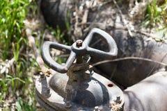 Ventil auf der Wasserleitung Stockfotografie