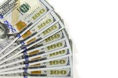 Ventilado para fora cem dólares de contas Foto de Stock Royalty Free