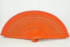 Ventilador anaranjado de madera Imagen de archivo