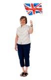 Ventilador britânico que acena sua bandeira de país Imagens de Stock