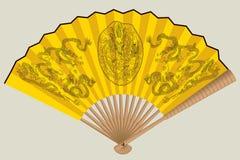 Ventilador chino amarillo con los dragones Fotografía de archivo