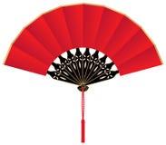 Ventilador chino de seda rojo Foto de archivo