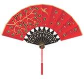 Ventilador chino de seda rojo con las flores y el pájaro ilustración del vector