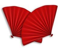 Ventilador chino rojo dos aislado Foto de archivo