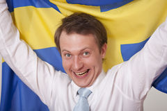 Ventilador com bandeira de sweden foto de stock royalty free