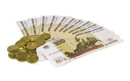 Ventilador das denominações e das moedas de dez-rublo. Fotos de Stock Royalty Free