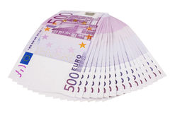 ventilador de 500 euro- notas de banco isolado Foto de Stock