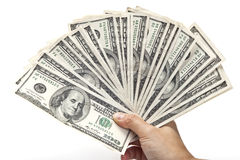 Ventilador de cientos cuentas de dólar Fotografía de archivo