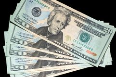 Ventilador de contas dos E.U. $20 Imagens de Stock