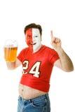 Ventilador de deportes con el vientre de cerveza Imagen de archivo libre de regalías