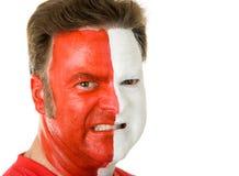 Ventilador de deportes en pintura de la cara Fotografía de archivo