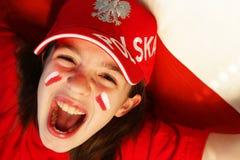 Ventilador de deportes polaco de la muchacha Imágenes de archivo libres de regalías