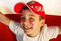 Ventilador de deportes polaco del muchacho Imagen de archivo
