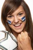Ventilador de esportes fêmea novo com a bandeira de Honduras na face Fotografia de Stock