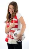 Ventilador de fútbol adolescente de la muchacha Fotos de archivo