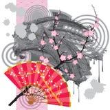 Ventilador de Japón con una mancha blanca /negra Imagen de archivo
