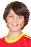 Ventilador de sorriso da criança da equipe espanhola Fotografia de Stock
