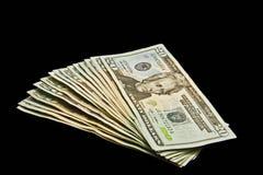 Ventilador de veinte cuentas de dólar Foto de archivo libre de regalías