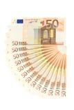 Ventilador del dinero del euro cincuenta Fotografía de archivo libre de regalías