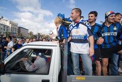 Ventilador del internazionale del club del fotball del grupo de Milano fotografía de archivo