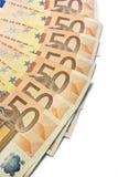 Ventilador do euro cinqüênta Fotografia de Stock