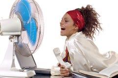 Ventilador e mulher Imagem de Stock Royalty Free