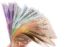Ventilador euro 50 100 y 500 cuentas Foto de archivo libre de regalías