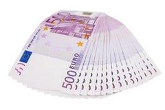 ventilador euro de 500 billetes de banco aislado Foto de archivo