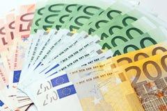 Ventilador hecho de billete euro Fotos de archivo libres de regalías