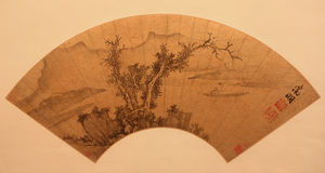 Ventilador plegable tradicional chino Fotos de archivo libres de regalías