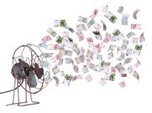 Ventilador viejo y billetes de banco europeos Imagen de archivo